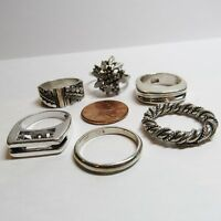 6 Piece Lot Vintage Sterling Silver Modernist SOLID Band RING No Stone 36 Grams