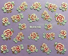 Nail Art 3D Decal Stickers Pretty Roses Rose Flowers BLE673D