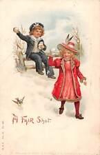 A Fair Shot, snow balls fight, play, game, children, fancy girl, bird 1905