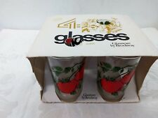 VINTAGE GLASSWARE BY BROCKWAY (4) JUICE GLASSES TOMATO DESIGN RARE NIB