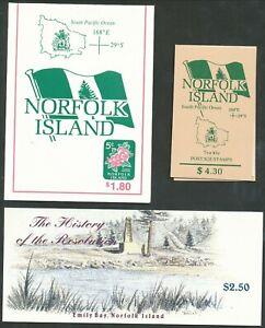 NORFOLK ISLANDS 3 NICE BOOKLETS CLEAN CONDITION BIN PRICE GB£7.00