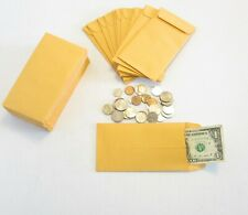 "500 KRAFT COIN ENVELOPES JEWELRY STAMPS CHANGE GIFT ENVELOPE #7 SIZE 3.5"" X 6.5"""