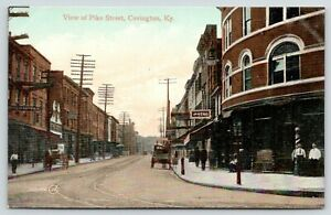 Covington Kentucky~Pike Street~The Stag~Barber Leans on Striped Pole~c1910 PC