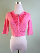 Womens Pink Petite Cotton Jewel Embellish Crop Short Jacket Cape sz 8/10 S I13