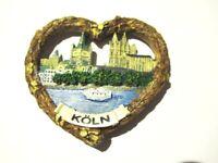 Magnet Köln Herzform Kölner Dom, Polyresin, Souvenir Deutschland Germany,Neu