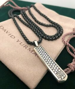 David Yurman Ingot Sapphire Tag With Box Chain 4mm Black Stainless Steel 26""
