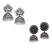 Indian Traditional Jewelry Designer Silver Oxidized New Jhumka Earrings Set