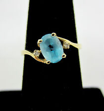 Delicate 1 Carat Solitaire Blue Topaz with Diamonds 14k Gold Ring **MAKE OFFER**