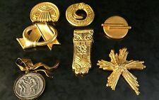 7 KRISA Cybele Greek Gods Jewelry Brooch Pins Coin Gilt GoldTone Goddess Ancient