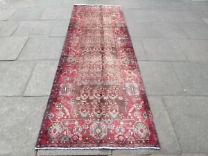Vintage Traditional Hand Made Oriental Faded Brown Wool Long Runner 300x103cm