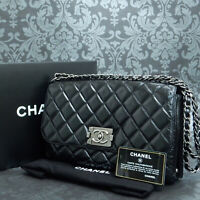 bc3f0f998f1e Rise-on CHANEL Metalic Quilted Leather Black Flap Chain Shoulder Bag  2094