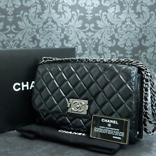 f1b3c0ad8755 Rise-on CHANEL Metalic Quilted Leather Black Flap Chain Shoulder Bag #2094