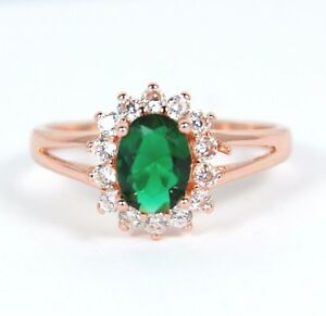 Women's Rose Gold Plated Green Crystal Ring