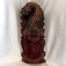 Vintage Hand Carved Hindu God LORD KRISHNA Bust Original Red/Green Paint ExcCond