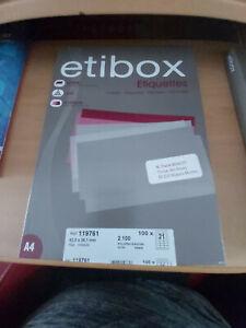 """ETIQUETTES """"ETIBOX """"  REF 119761 NEUVE"""