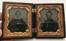 Antique Ambrotype Couple Photo Pocket Size with Gold Frame