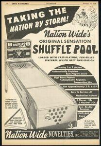 1950 Nationwide Shuffle Pool coin-op arcade game machine photo trade print ad