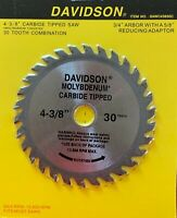"4-3/8"" x 30 Tooth Carbide Tipped wood Saw Blade - New"