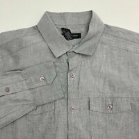 INC International Concepts Button Up Shirt Men's Small Long Sleeve Gray Cotton