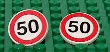 LEGO 2 speed limit 50 signs for Minifigures Roads Cars