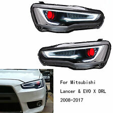 LED Headlights Lamps Pair For Mitsubishi Lancer & EVO X DRL 2008-2017 Red Eye