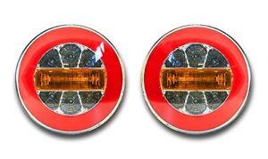 2x LED NEON TAIL ROUND HAMBURGER REAR COMBINATION INDICATOR REVERSE LIGHTS LORRY