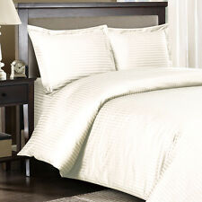 1500 Thread Count 100% Egyptian Cotton DUVET Set KING / CAL KING Ivory Stripe