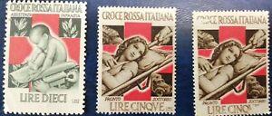 3 francobolli ERINNOFILI CROCE ROSSA ITALIANA - PRONTO SOCCORSO