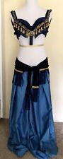 Belly Dance Costume, Tribal Style, Bra, Belt and Harem Pants, 34B Size 8, Blue