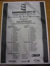23/11/2013 Teamsheet: Birmingham City v Blackpool. Good condition unless previou