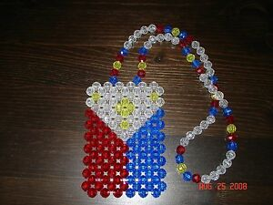 *HANDMADE* PHILIPPINES FILIPINO BEADED FLAG for your car's mirror, necklace