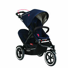 Phil & Teds 2016 Sport Stroller & Double Kit Midnight with Double Seat Open Box!