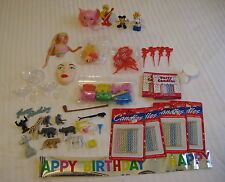 Cake Topper Lot Big Bird Mickey Mouse Snoopy Barbie Clown Train Magic Candles +