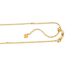 """Technibond Solid Adjustable Cable Chain Necklace 14K Yellow Gold Clad Silver 22"""""""