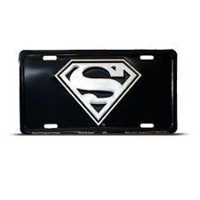 SUPERMAN CHROME LOGO BLACK License Plate Auto Tag
