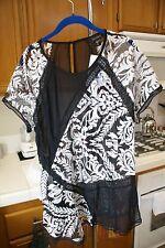KAREN KANE Womens Multi-Lace Paneled Top Blouse Black & White XL $158 NWT