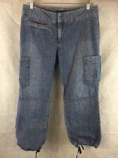 Banana Republic Women's Blue Denim Cargo Capri Pants Size 6 Ties At Hem Cotton