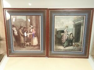 Pair Vintage Street Seller Hawker Women Painting PRINTS Glazed Hardwood Frames