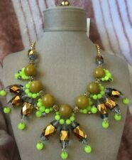 NWT Coldwater Creek Citron Cluster Bib Beaded Necklace Genuine Stone Ret $49.95