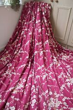 LAURA ASHLEY LORI CRANBERRY RED CURTAINS,66WX72D,WHITE,LINEN COTTON,HEAVY,1OF3