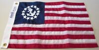 """20"""" x 30"""" Yacht Ensign Nautical Boat Flag Sewn Anchor Sewn Stripes Made in USA"""