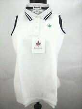 Boast Girls Tennis Golf Court Sport Sleeveless Pique Shirt White Navy XL / S NWT