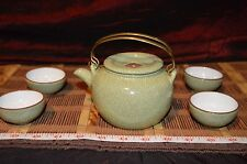 Asian Clay Celadon Crackle Teapot w/ Double Brass Handle Marked on Lid & 4 Cups