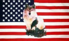 USA WOLF EAGLE FLAG 5' x 3' US America American Line Dancing Barn Dance