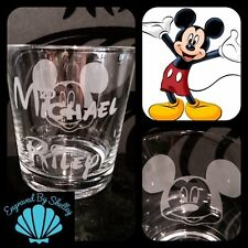 Personalised Disney Mickey Mouse Glass Handmade FREE Name Engraving! So Cute!