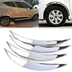4x Chrome Car Wheel Eyebrow Arches Lips Side Fender Flares Protector Trim Cover