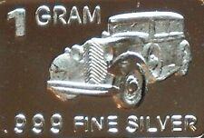 1 Gram .999 Fine Pure Solid Silver Bar / Antique Car