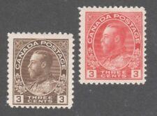 CANADA STAMPS  #108-109  — (2) 3c KING GEORGE V -  UNUSED