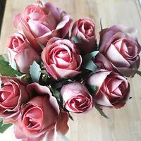 9 Rosen = Rosenstrauß Kunstblume Künstlicher Strauß Rosa Apricot Seidenblumen