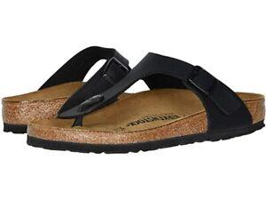 New BIRKENSTOCK Gizeh BS Black Birko-Flor Leather Cork Thong Sandals Size 8 & 10